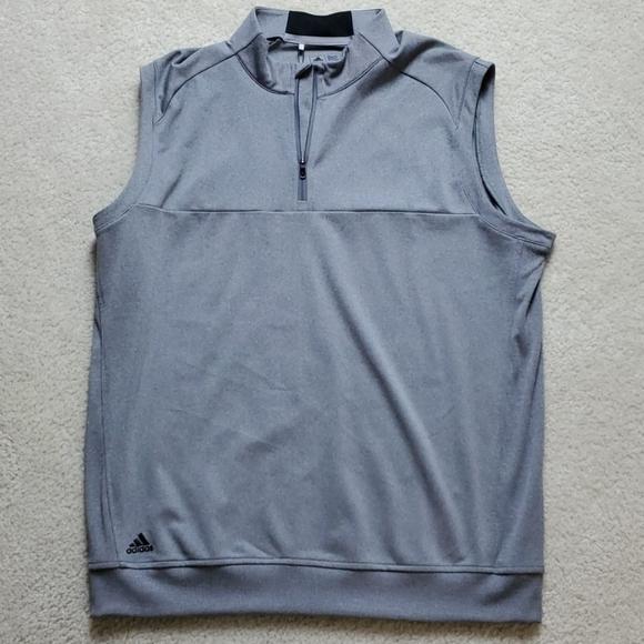 Adidas Mens Golf Club 1/4 Zip Vest, Grey, Sz L